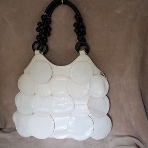 Handbags - Vintage 60's Vinyl Off White Hobo w/ bead handles